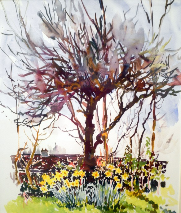 Spring time - Apple tree watercolour painting geraldine sadlier