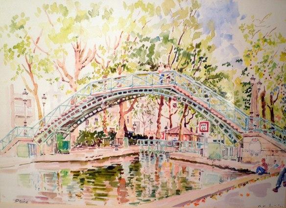paris canal saint martin watercolour painting geraldine sadlier