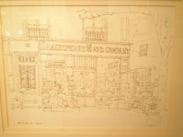 shakespeare and co bookshop pen ink drawing geraldine sadlier